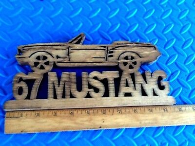 Wood 1967 Mustang convertible decorative sign plaque wooden 67 ford 10x5x3/4
