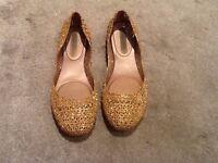Melissa Campana gold glitter shoes