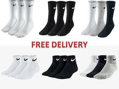 Nike Socks 3 pairs mens ladies long - Quarter sports running cushioned socks