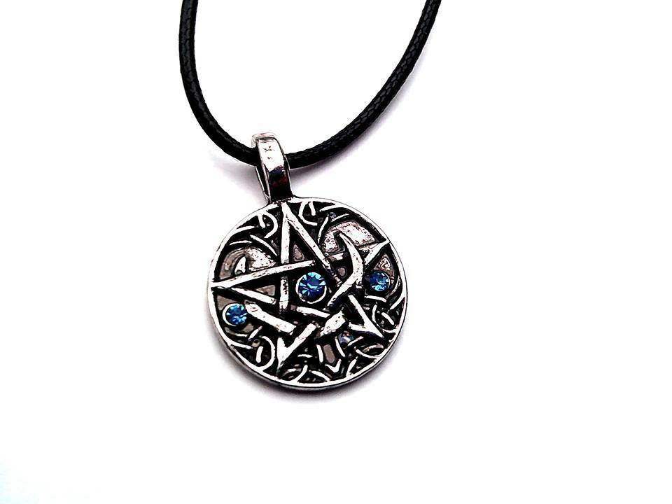 Amulet Talisman Pentagram Wicca Wiccan Pagan Pentacle on a Leather Cord. 1