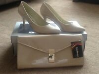 Brand new kaleidoscope nude shoes and matching handbag perfect for wedding/party