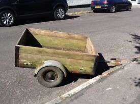 TWO WHEELED WOODEN BOX TRAILER