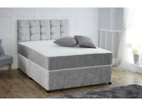 --DELIVERY IS FREE-- BRAND NEW DOUBLE CRUSH VELVET DIVAN BASE IN DIFFERENT COLOURS WITH MATTRESS