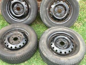 Four 14 x 5 Steel rims with 195 60 14 Tyres. 4 x 114.3 Stud patte Prestons Liverpool Area Preview