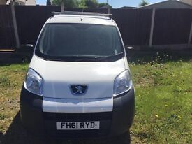 White 61 plate Peugeot bipper van with rhino roof bars, Great condition inside and out low mileage