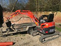 Kubota U15 Mini Excavator With Ifor Williams Trailer