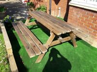 Top quality chunky hardwood pub outdoor picnic table seats 6. Fantastic for a hotel, pub or home