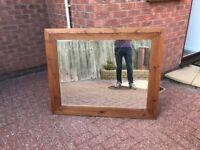 Large chunky solid pine mirror