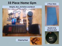 Harrow | Home Gym 33 Pcs: Folding Bench, EZ curl bar, Kettlebells, 45kg in Weights and Ab Rollers