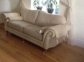 2matching settees gold/mustard stripe good condition still available from sofa sofa.space needed