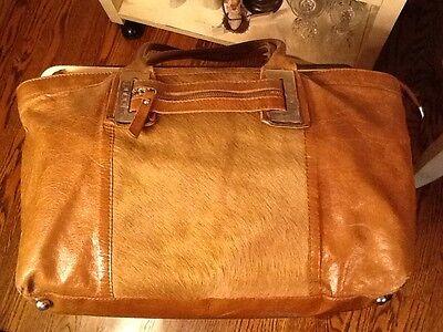 Innue Italian Brown Leather and Calf Hair Satchel Handbag