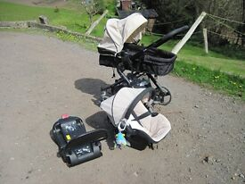 Haick colt travel system, car seat, carrycot/pushchair, isofix