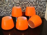 1970's Orange Glass Shades for Wall Lights x5 in Perfect Condition in Original Boxes