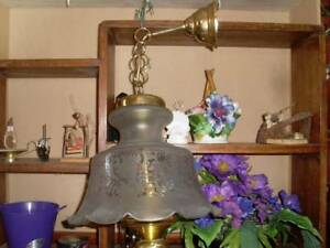 #3- Vintage chandelier Ceiling light Brass & etched glass
