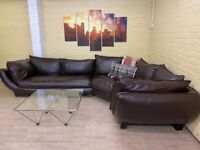 Large Stunning Brown Leather Corner Sofa
