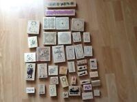 Large bundle card making wooden rubber stamps
