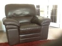 2 seater sofa & electric reclining chair, brown leather purchased from Sterling Furniture