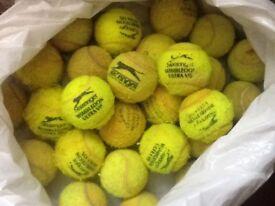 Tennis balls x 3 for dogs (some slazenger)