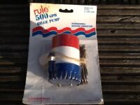 New Bilge pump for boat, 12 volt, submersible ignition, 500 gallon per hour on open discharge