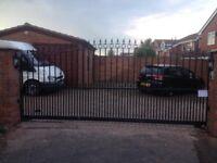 Steel metal slide driveway gate