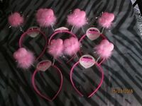 PINK BOUNCY FUZZY HEART HEADBANDS X 5 GREAT FOR PARTY OR HEN DO