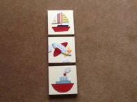 3 SMALL PICTURES FOR BABY/CHILDS BEDROOM/PLAYROOM: YACHT, PLANE, BOAT. SQUARE WOODEN WITH CANVAS