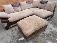 Lovely BRAND NEW brown and beige jumbo cord corner sofa and footstool,couple marks ,can deliver