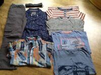 BUNDLE 7 ITEMS BOYS CLOTHING AGE 11 YEARS: PAIR TROUSERS, SHIRT, TOP, 2 TSHIRTS & SHORT SLEEVE SHIRT