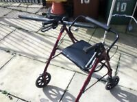 MOBILITY WALKER WALKING AID 4 WHEELED WITH BRAKES AND SEAT