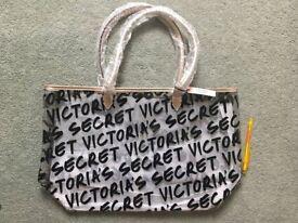 Victoria's Secret Summer Beach Tote Bag, clear, graffiti design