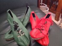 2 Pair of jig shoes red pair size small one green pair small six