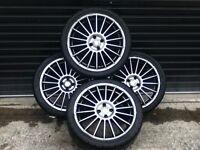 "**BARGAIN** Set Of 4 18"" Gunmetal Grey Fox Racing Alloy Wheels 4 STUD 4X100 FITMENT RENAULT"