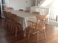 Farmhouse table and 8 chairs