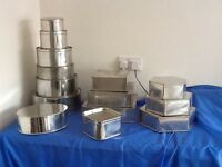 14 Baking Cake Tins of various shapes and sizes. Hardly used in excellent condition £65.