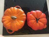 Le Creuset & Staub pumpkin cast iron casserole set of 2