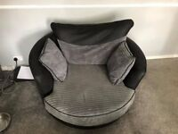 Grey and Black Corner Sofa with Matching Swivel Chair