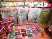 Mid sleeper child bed with tent bedding set and rug