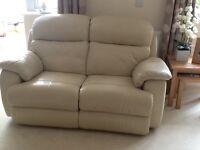 2 seater leather reclining Sofa cream