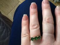 9ct gold chrome diopside ring size L