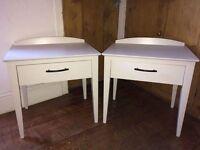 Pair Bedside Tables in Farrow & Ball Cornforth White