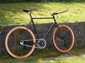 Black and Orange Fixie Bike