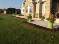 Concrete, interlock, parging, landscaping.
