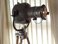 Vintage strand theater lamp on wooden tripod,lights up,6ft.