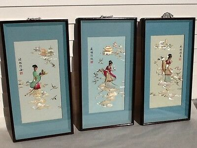 Vintage Fine Chinese wood framed Shadow Boxes Lacquer Mother of Pearl and more