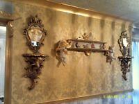 FRENCH VINTAGE CHERUB SHELF, VICTORIAN GOLD AND CREAM