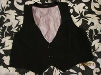 BLACK WAISTCOAT WITH LILAC LINING SIZE 20 BY F&F OFFICE , FORMAL OR WEDDING