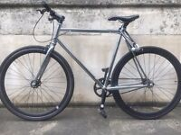 Fixed Gear Bicycle (Black-Silver) + Kryptonite Lock