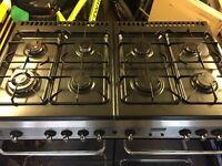 8 ring 2 oven duel fuel cooker+hood+copper base pans bargain
