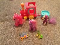 My little ponys plus moving train