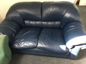 Blue leather couch as good as new